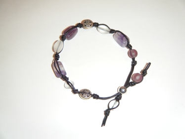 Leather knots and amethyst