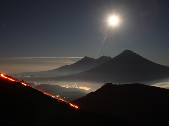 Volcano, Guatemala, volcanic mountains, sky, stars, city lights